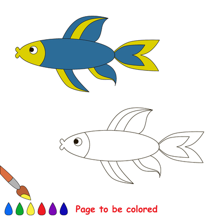 sealife: Blue fish. Coloring book for children. Page to be color. Sealife.