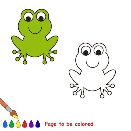rana: Rana de la historieta que ha de colorearse. Libro de colorante para los niños. Vectores