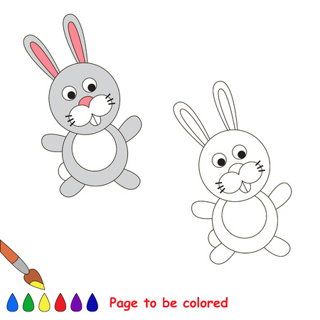 interesting: Cartoon grey rabbit to be colored. Coloring book for children.