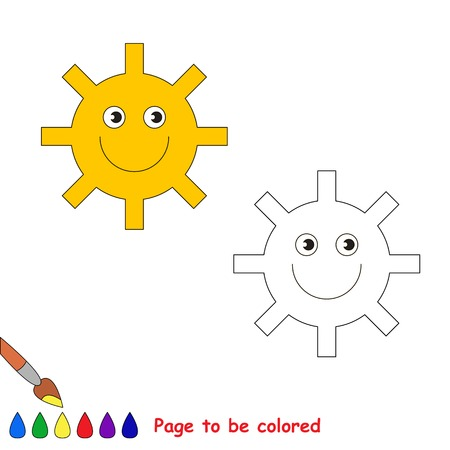 be happy: Coloring book for children. Cartoon happy sun to be colored.