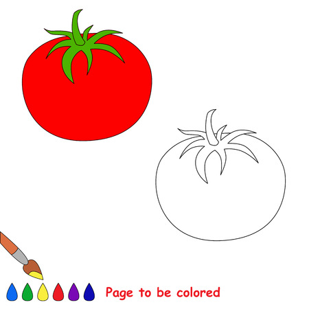 Cartoon tomato to be colored. Coloring book for children.