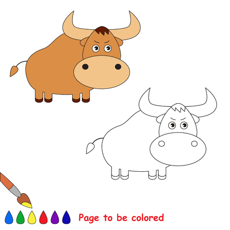yak: Coloring book for children. Cartoon yak to be colored. Illustration