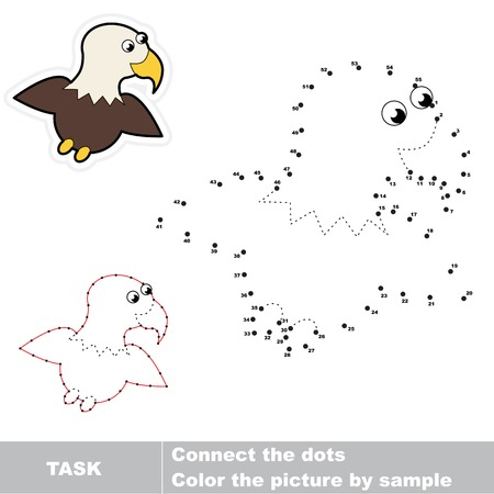 connects: Game for numbers. One cartoon eagle. Connect the dots and find hidden picture. Trace game for children. Illustration