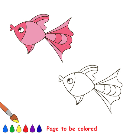 sealife: Pink fish. Coloring book for children. Page to be color. Sealife. Illustration