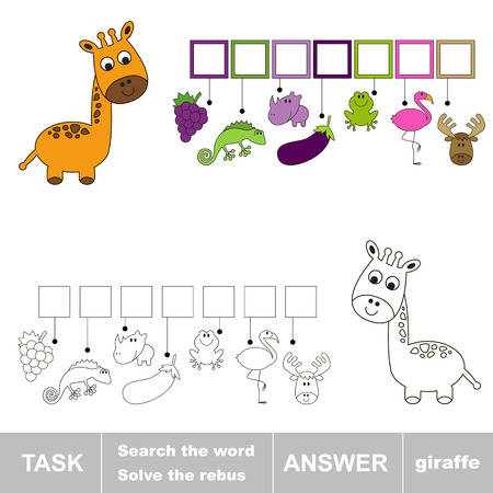 solve: Solve the rebus. Find hidden word GIRAFFE.Task and answer. Search the word. Illustration