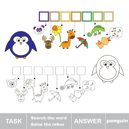 solve: Solve the rebus. Find hidden word penguin.Task and answer. Search the word. Illustration