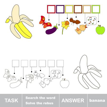 De Dibujos Animados De Color Amarillo Plátano Para Ser Coloreado ...