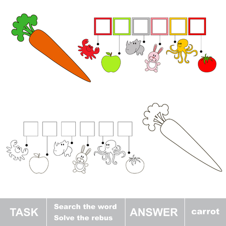 solve: Solve the rebus. Find hidden word CARROT.Task and answer. Search the word. Illustration