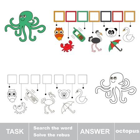 octopus: Find hidden word octopus. Rebus game for children.