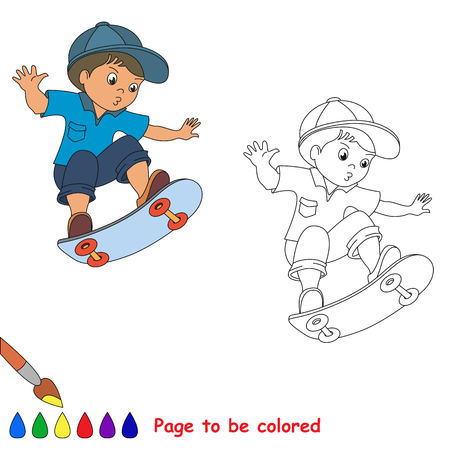 boy skater: Skateboarding. One baby boy skater on skate. Summer outdoor games for children. Kids summer sport. Coloring book for children. Illustration