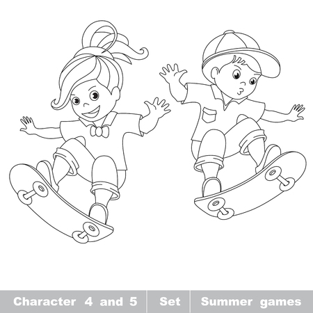 Skateboarding. One baby girl skater on skate. Summer outdoor games for children. Kids summer sport. Coloring book for children.