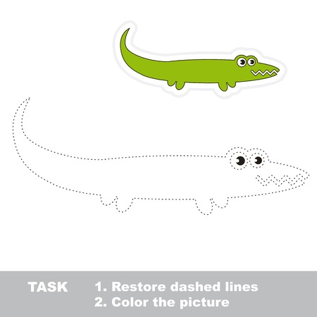 restore: One cartoon green alligator to be traced. Restore dashed line and color picture. Trace game for children. Illustration