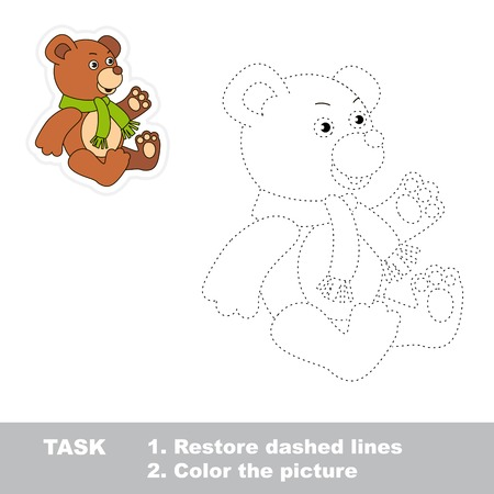 restore: Trace game for children. One cartoon bear toy to be traced. Restore dashed line and color picture.