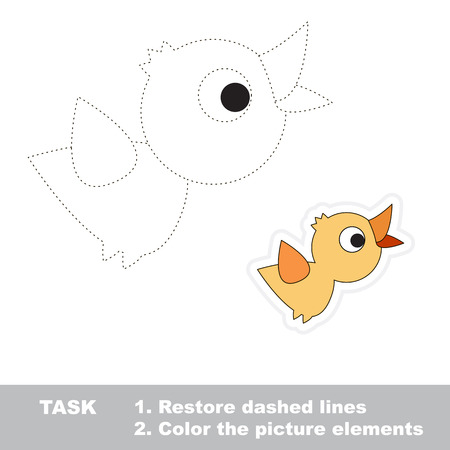 dashed line: One cartoon bird. Restore dashed line and color picture. Trace game for children.