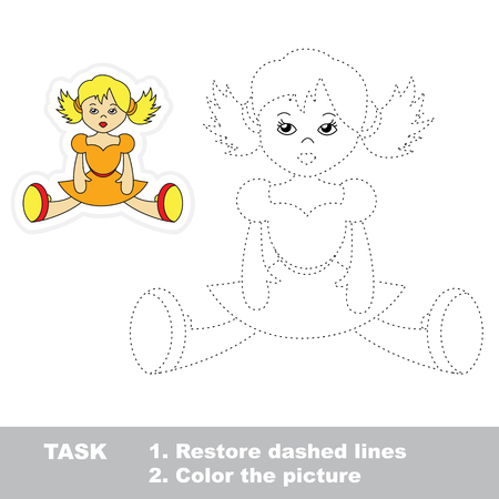 dashed: One cartoon doll to be traced. Restore dashed line and color picture. Trace game for children.
