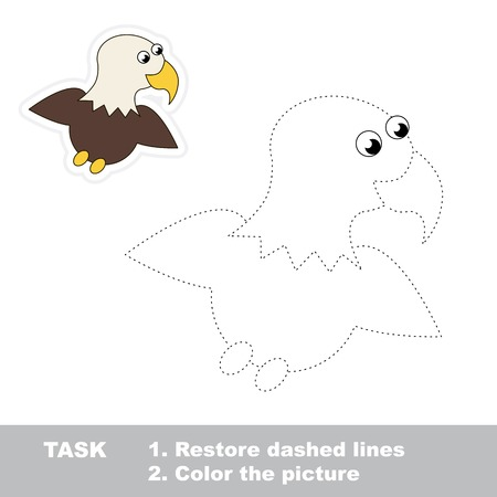 restore: One cartoon eagle to be traced. Restore dashed line and color picture. Trace game for children.