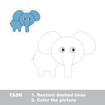 restore: One cartoon elephant to be traced. Restore dashed line and color picture. Trace game for children.