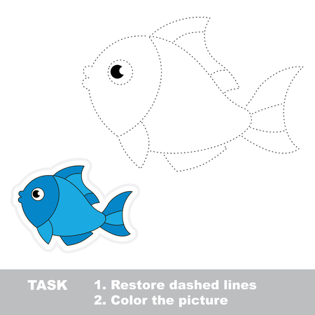Trace game for children. One cartoon fish to be traced. Restore dashed line and color picture. Ilustração