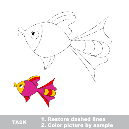 restore: One pink fish. Connect dots and color picture by sample.