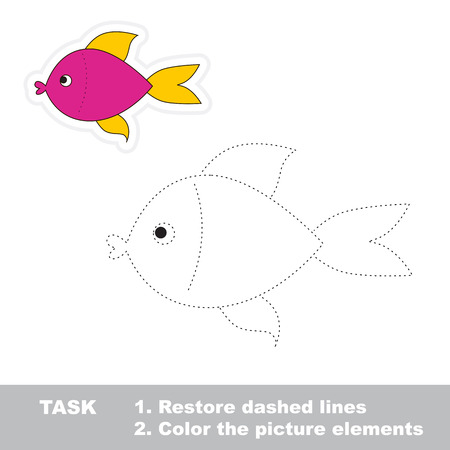 restore: One cartoon pink fish. Restore dashed line and color picture. Trace game for children.