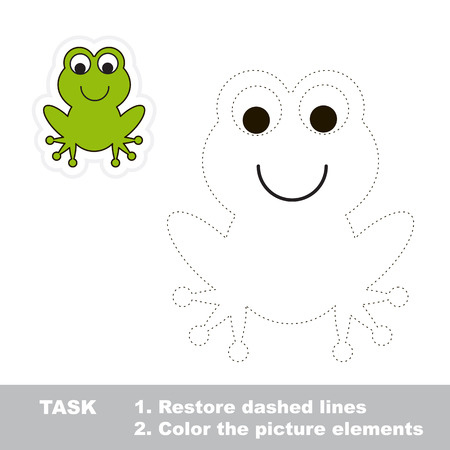 restore: One cartoon green frog to be traced. Restore dashed line and color picture. Trace game for children.