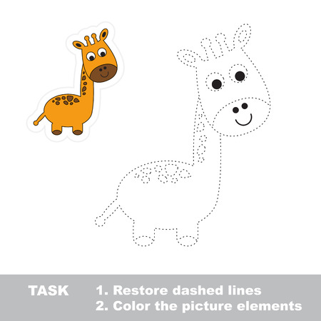restore: One cartoon funny giraffe. Restore dashed line and color picture. Trace game for children.