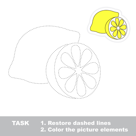 restore: One cartoon lemon. Restore dashed line and color picture. Trace game for children. Illustration