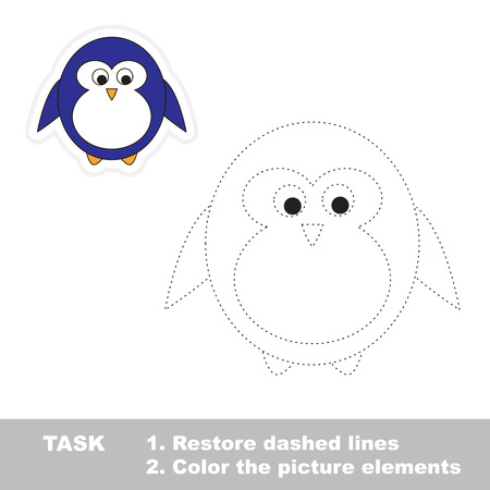 Penguin. Restore dashed line and color picture. Trace game for children.