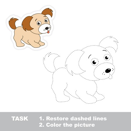 Trace game for children. One cartoon puppy to be traced. Restore dashed line and color picture. Illustration