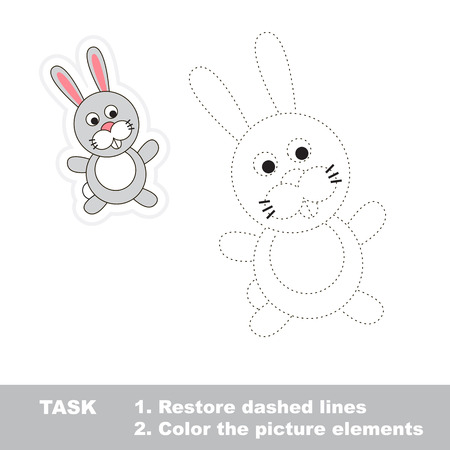 dashed line: One cartoon rabbit. Restore dashed line and color picture. Trace game for children.