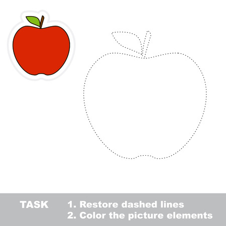 One cartoon red apple. Restore dashed line and color picture. Trace game for children.