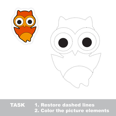 restore: Owl. Restore dashed line and color picture. Trace game for children.
