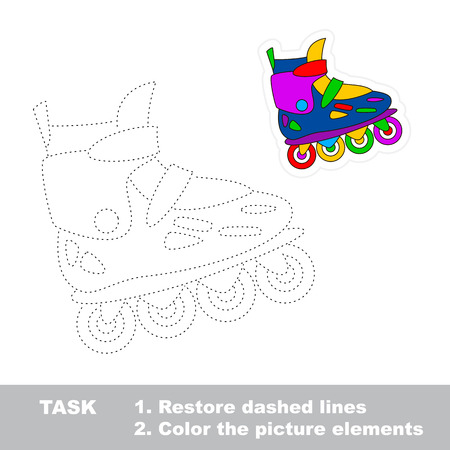 One cartoon roller skate. Restore dashed line and color picture. Trace game for children.