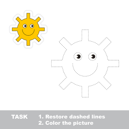 dashed: One cartoon green sun to be traced. Restore dashed line and color picture.
