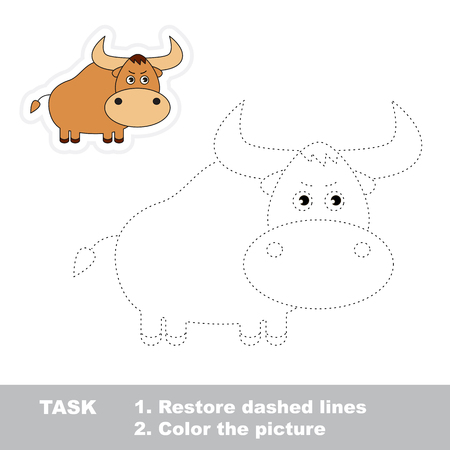 restore: Restore dashed line and color picture. One cartoon yak to be traced. Trace game for children.