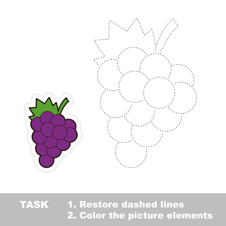 dashed line: Sweet GRAPES to be traced. Restore dashed line and color picture. Trace game for children.