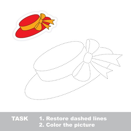 traced: Cartoon hat to be traced. Trace game for kids.