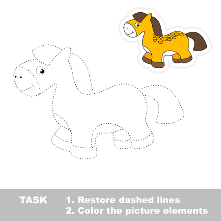 restore: One cartoon toy horse. Restore dashed line and color picture. Trace game for children.