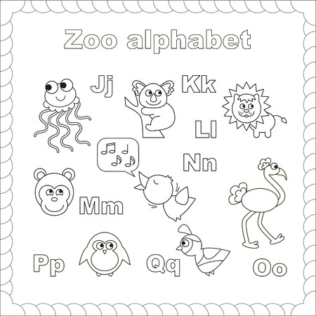 Outline zoo alphabet to be colored. Letters j-q. Learn to read. Isolated. Ilustração