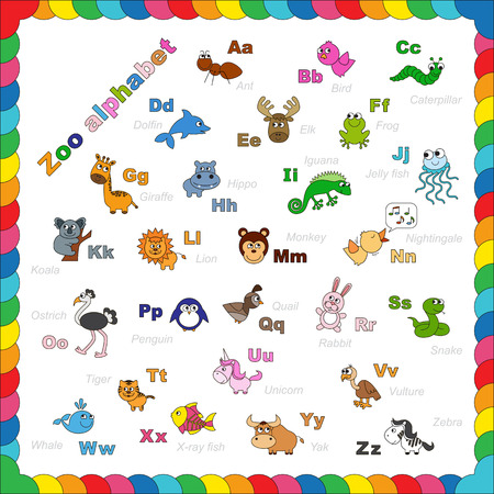 zoo: The complete kids english animal zoo alphabet with fun cartoon animals. ABC. Zoo alphabet design in outline style. Outline zoo alphabet to be colored. Letters. Learn to read. Isolated.