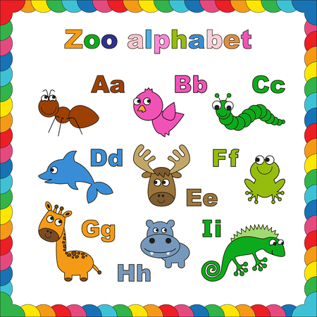 zoo amphibian: Coloring book - zoo alphabet. Lettrs a-i. Learn to read. Isolated.