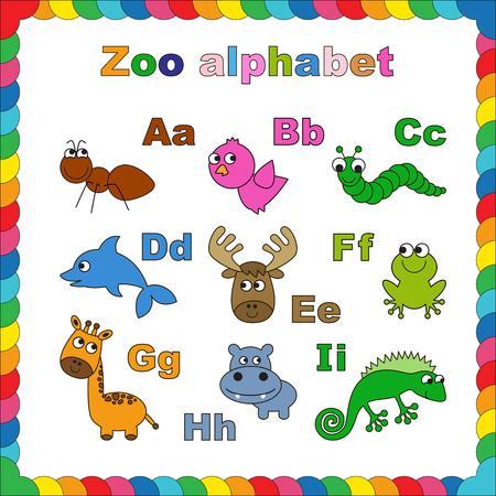 zoologico: Libro para colorear - Alfabeto zool�gico. Lettrs interino. Aprender a leer. Aislados.