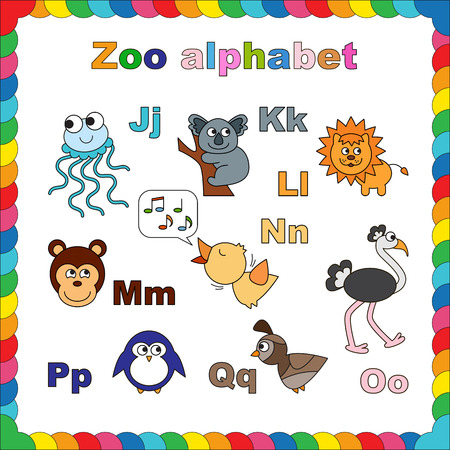zoo animals: Coloring book - zoo alphabet. Learn to read. Isolated. Letters j - q. Illustration