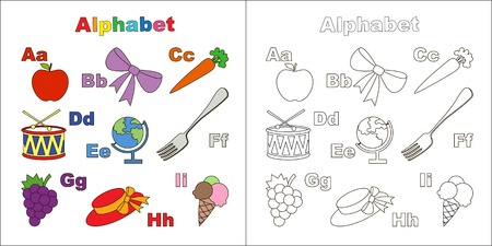 ice alphabet: Vector object alphabet. Cute alphabet in vector objects. Page to be colored. Apple, bow, carrot, drum, earth, fork, grape, hat, ice, cream, ice-cream. Illustration