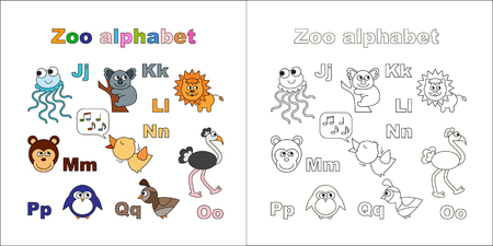 Coloring book - zoo alphabet. Letters. Learn to read. Isolated. Jelly fish, jellyfish, koala, lion, monkey, nightingale, ostrich, penguin, quail