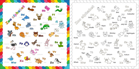 zoologico: El ni�os completos Ingl�s alfabeto animales zool�gico con animales de dibujos animados divertidos. ABC. Dise�o alfabeto Zoo en el estilo de contorno. Esquema zool�gico alfabeto para colorear. Cartas. Aprender a leer. Aislados. Vectores