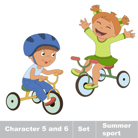 Two baby boy and girl ride a bike. Summer outdoor games for children. Kids summer sport.