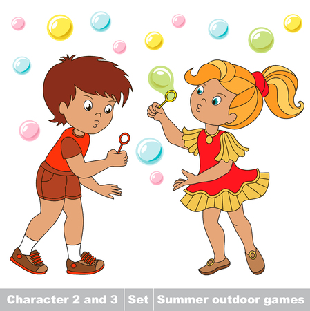 Small baby boy and girl friend playing in the yard inflate soap bubbles. Bubbles fly the two children have fun.  Cartoon character playing baby. Summer outdoor hobby games for children. Kids summer games.