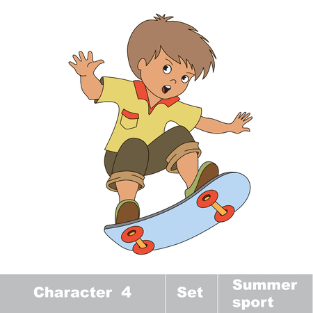 boy skater: Skateboarding. One baby boy skater on skate. Summer outdoor games for children. Kids summer sport.
