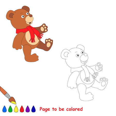 baby bear: Baby toy bear wearing red scarf. Kid game - coloring book. Task to be color - for children playing. Illustration